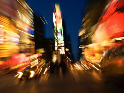 Blurred Light Effect of Times Square in New York City--Photographic Print
