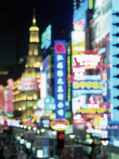 Blurred Neon Lights at Night, Nanjing Dong Lu New Pedestrian Street, Nanjing Road, Shanghai, China-Gavin Hellier-Photographic Print