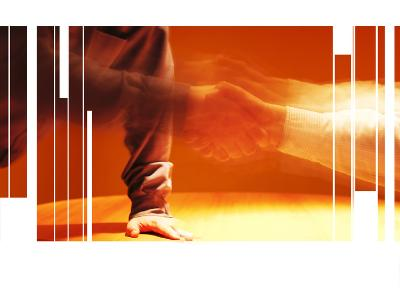 Blurry and Fragmented Image of a Handshake--Photographic Print