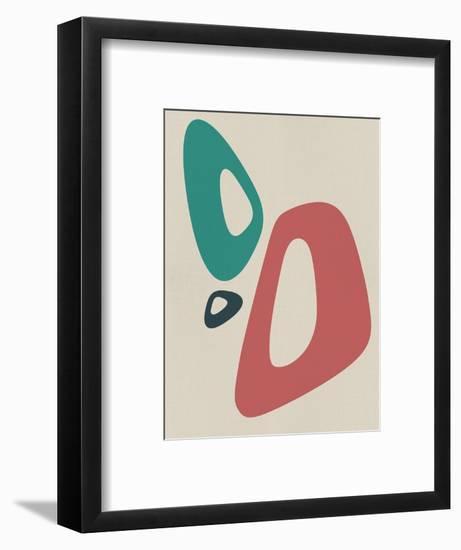 Blush Pink and Teal Abstract Shapes I-Eline Isaksen-Framed Art Print