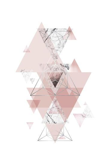 Blush Pink Marbled Geometric-Urban Epiphany-Art Print