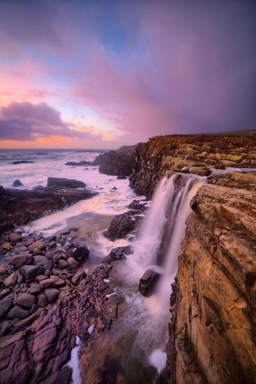 Blustery Phillips Gulch Waterfall at Sunset, Sonoma Coast, California-Vincent James-Photographic Print