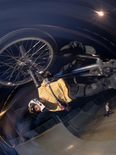 Bmx Cyclist Flys over the Vert--Photographic Print