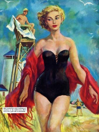 """The Lifeguard & The Lady  - Saturday Evening Post """"Leading Ladies"""", August 27, 1955 pg.24"""
