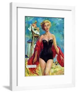 """The Lifeguard & The Lady  - Saturday Evening Post """"Leading Ladies"""", August 27, 1955 pg.24 by Bn Stahl"""