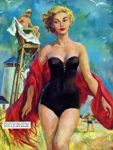 "The Lifeguard & The Lady  - Saturday Evening Post ""Leading Ladies"", August 27, 1955 pg.24 by Bn Stahl"
