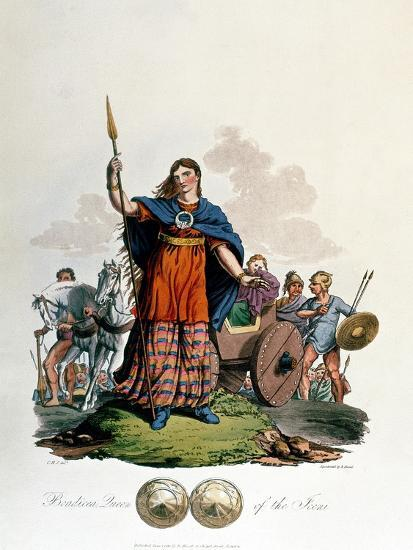 Boadicea, Queen of the Iceni (1st Century), Designed by C. H.S., Aquatinted and Pub. 1815--Giclee Print