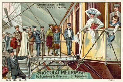 Boarding the Airship in London--Giclee Print
