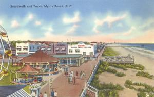 Boardwalk and Beach, Myrtle Beach, South Carolina