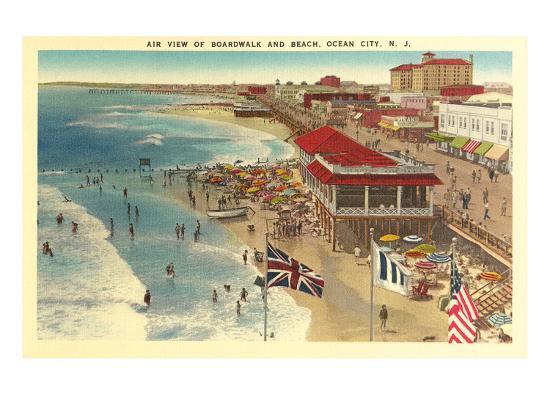 Boardwalk and Beach, Ocean City, New Jersey--Art Print