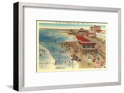 Boardwalk and Beach, Ocean City, New Jersey--Framed Art Print