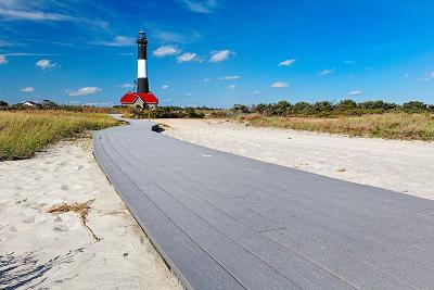 Boardwalk and Lighthouse, Fire Island, New York-George Oze-Photographic Print