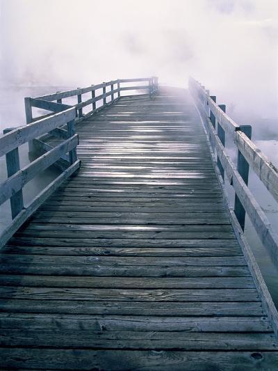 Boardwalk in fog, Yellowstone National Park, Wyoming-Theo Allofs-Photographic Print