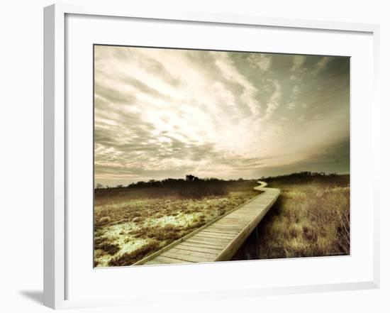 Boardwalk Winding over Sand and Brush-Jan Lakey-Framed Photographic Print