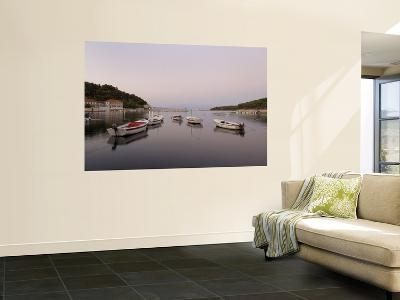 Boast Moored in Calm Port Water-Will Salter-Wall Mural