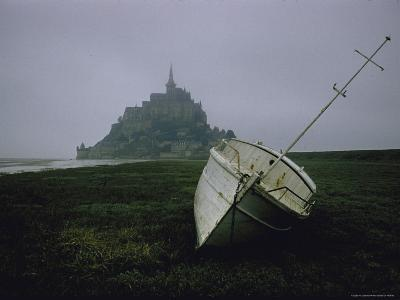 Boat and Mont St. Michel, Islet in Northwestern France, in the Gulf of Saint Malo-Walter Sanders-Photographic Print