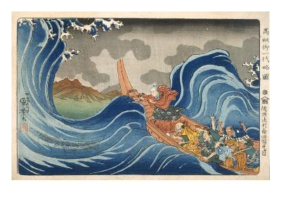 Boat and Waves (Colour Woodblock Print)-Japanese-Giclee Print