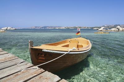 Boat at a Jetty, Palau, Sardinia, Italy, Mediterranean, Europe-Markus Lange-Photographic Print