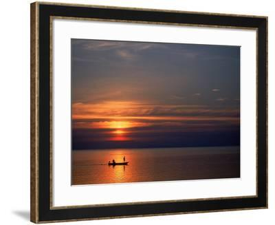 Boat at Sunset, Koh Phangan, Thailand-Thomas McGuire-Framed Photographic Print