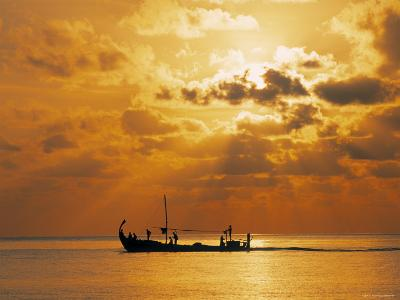 Boat at Sunset, Maldives, Indian Ocean-Jon Arnold-Photographic Print
