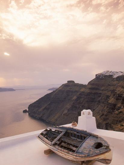 Boat at Sunset, Santorini, Greece-Walter Bibikow-Photographic Print