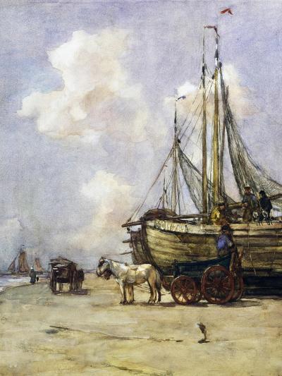 Boat Being Towed Towards Beach by Johan Akkeringa (1864-1942), Watercolour, 19th Century--Giclee Print