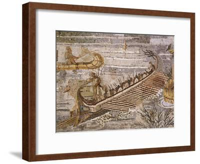 Boat Carrying Soldiers Down the River Nile, Mosaic Pavement, c. 80 BC Roman, Praenesta, Italy