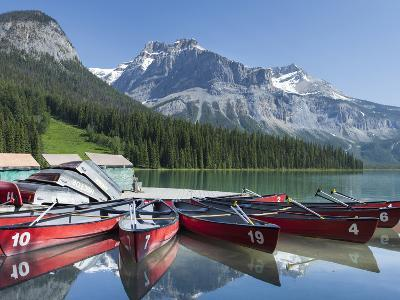 Boat Dock and Canoes for Rent on Emerald Lake, Yoho National Park,British Columbia-Howard Newcomb-Photographic Print
