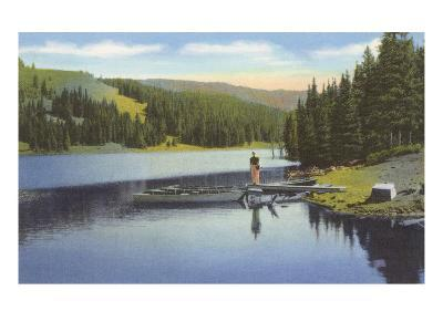 Boat Dock on Lake in Northwest--Art Print