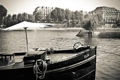 Boat Docked Along the Seine River, Paris, France-Russ Bishop-Photographic Print