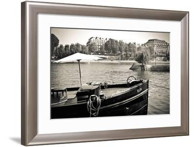 Boat Docked Along the Seine River, Paris, France-Russ Bishop-Framed Photographic Print