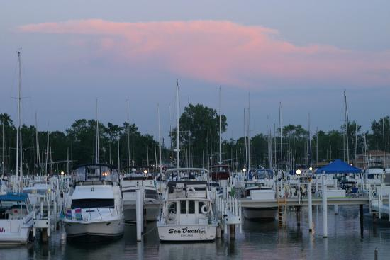 Boat docks at sunset, Indiana Dunes, Indiana, USA-Anna Miller-Photographic Print