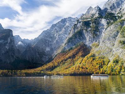 Boat excursion on lake Koenigssee, Berchtesgaden NP, Bavaria, Germany.-Martin Zwick-Photographic Print