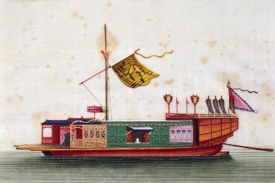 Boat from Eastern Seas of China, Painted on Silk by Unknown Artist, 19th Century--Giclee Print