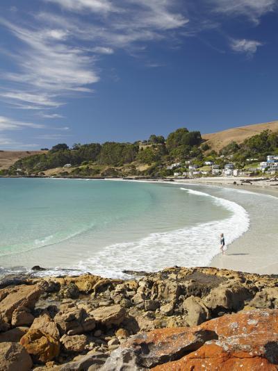 Boat Harbour Beach and Orange Lichen on Rocks, North Western Tasmania, Australia-David Wall-Photographic Print