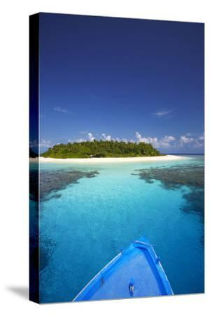 Boat Heading for Desert Island, Maldives, Indian Ocean, Asia-Sakis Papadopoulos-Stretched Canvas Print