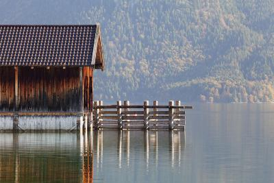 Boat House at Walchensee Lake in Autumn, Bavarian Alps, Upper Bavaria, Bavaria, Germany, Europe-Markus Lange-Photographic Print