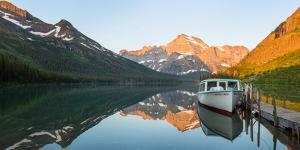Boat in Josephine Lake, Many Glacier, Glacier National Park, Montana, USA