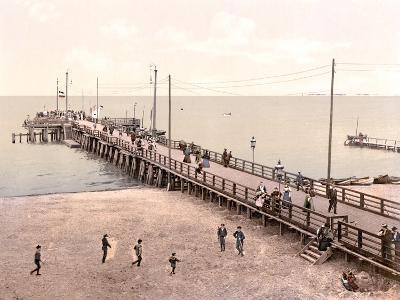 Boat Landing at the End of the Pier, Zoppot, Germany, Pub. C.1895--Photographic Print