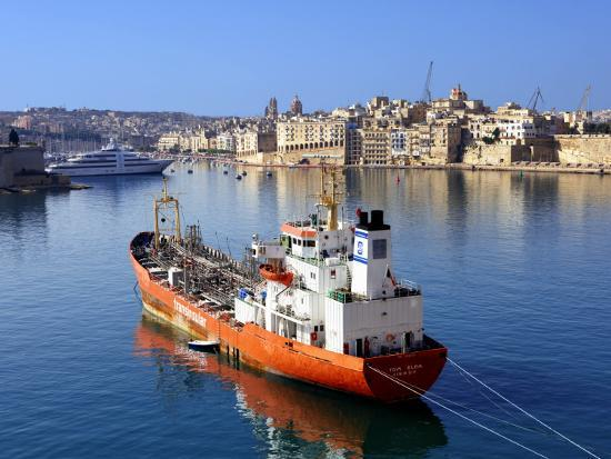 Boat Moored in Grand Harbour-Jean-pierre Lescourret-Photographic Print