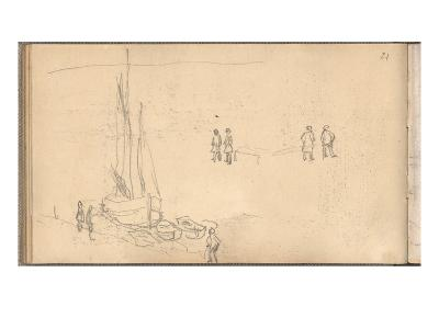 Boat of Villerville Alongside the Quay, Study of Figures (Pencil on Paper)-Claude Monet-Giclee Print
