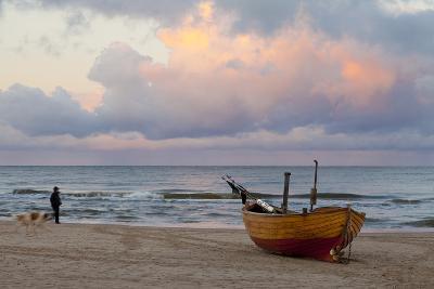 Boat on Beach, Ahlbeck, Island of Usedom, Baltic Coast, Mecklenburg-Vorpommern, Germany, Europe-Miles Ertman-Photographic Print