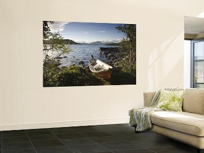 Boat on Lake Kilpisjarvi, Kilpisjarvi, Arctic Circle, Lapland, Finland-Doug Pearson-Giant Art Print