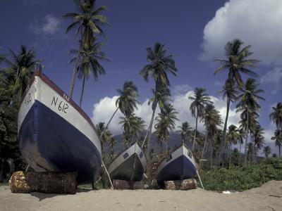 Boat on Pinney Beach, Nevis, Caribbean-Robin Hill-Photographic Print