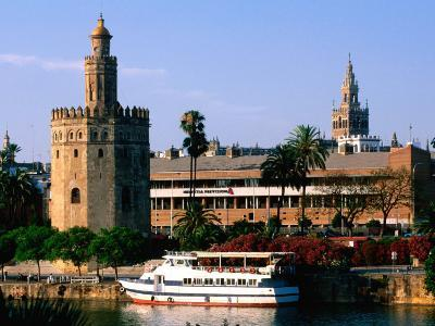 Boat on River in Front of Torre del Oro, Sevilla, Andalucia, Spain-John Elk III-Photographic Print