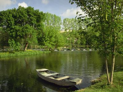 Boat on the River Charente, St. Simeux, Poitou Charentes, France, Europe-Michael Busselle-Photographic Print