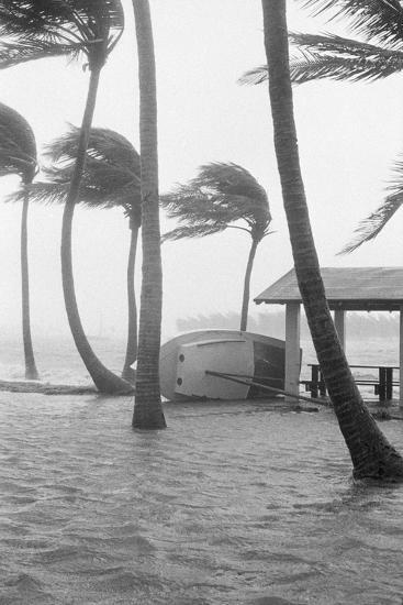 Boat Overturned by Hurricane Winds--Photographic Print