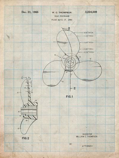 Boat Propeller 1964 Patent-Cole Borders-Art Print
