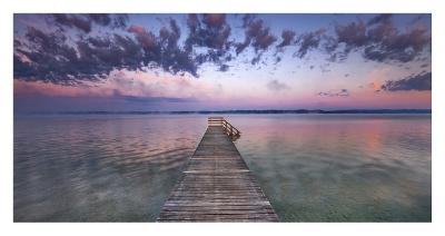 Boat ramp and filigree clouds, Bavaria, Germany-Frank Krahmer-Art Print