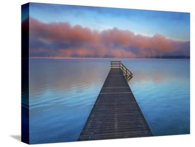Boat ramp and fog bench, Bavaria, Germany-Frank Krahmer-Stretched Canvas Print